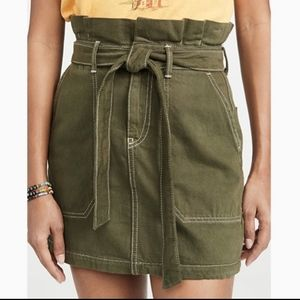Free People   army green paper bag skirt